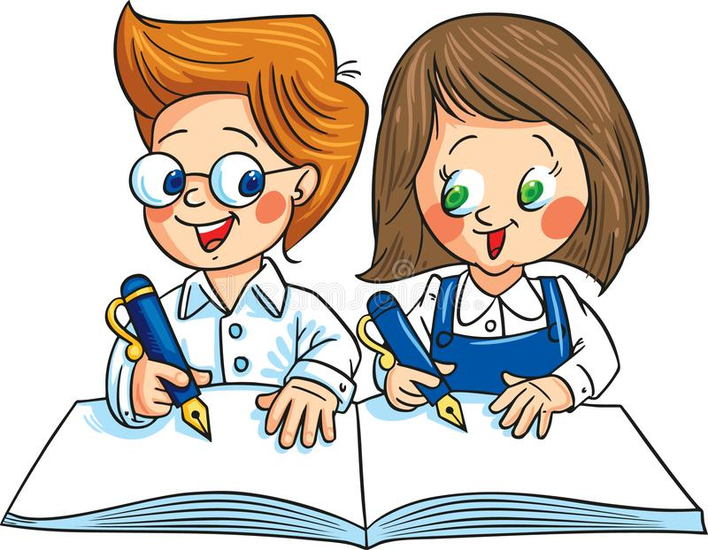 Two children writing on the same notebook. Vector illustration. vector illustration