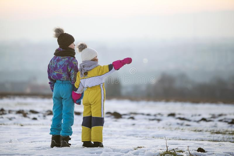 Two children brother and sister standing outdoors on snow covered winter field holding hands stock image