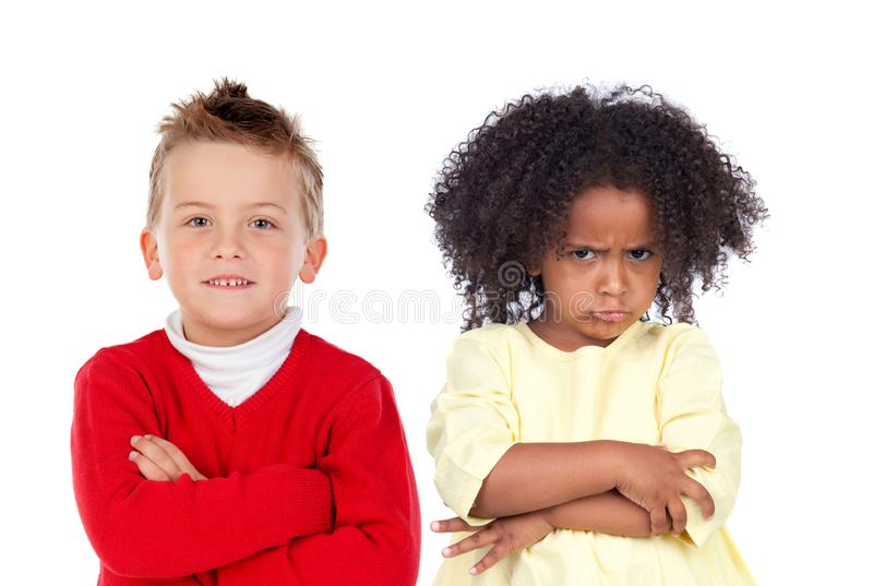 Two angry with different expressions stock images