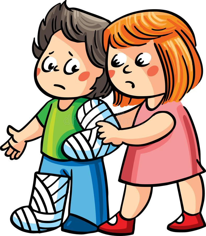 A girl helping an ill boy to walk. Vector illustration. Two children, a girl helping to walk an ill boy with bandaged arm and leg stock illustration