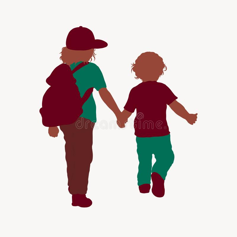 Two children go holding hands royalty free illustration
