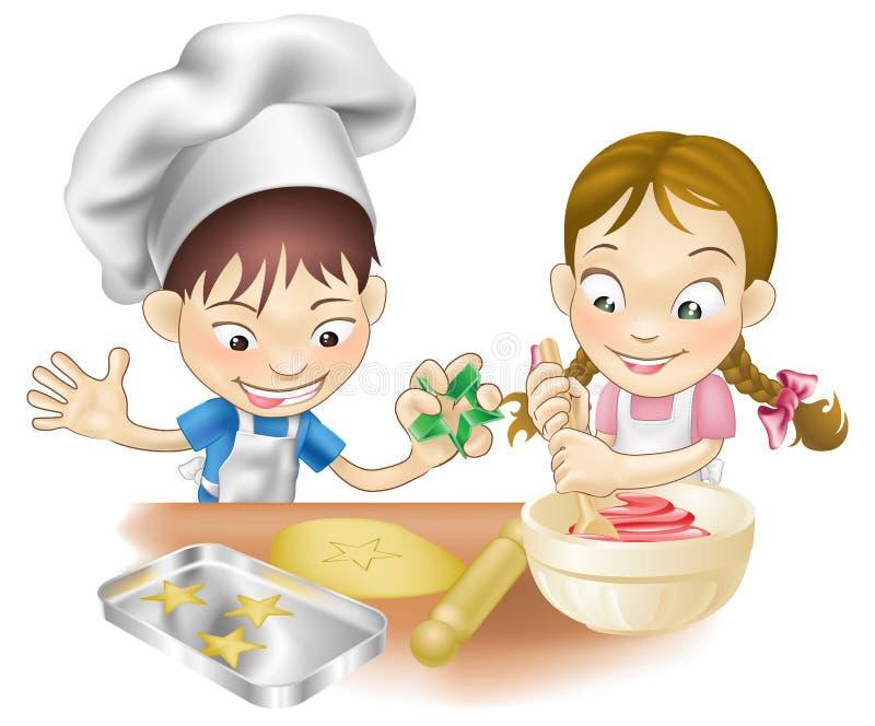 Two children having fun in the kitchen vector illustration