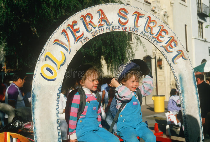 Two children at historic Olvera Street royalty free stock photography