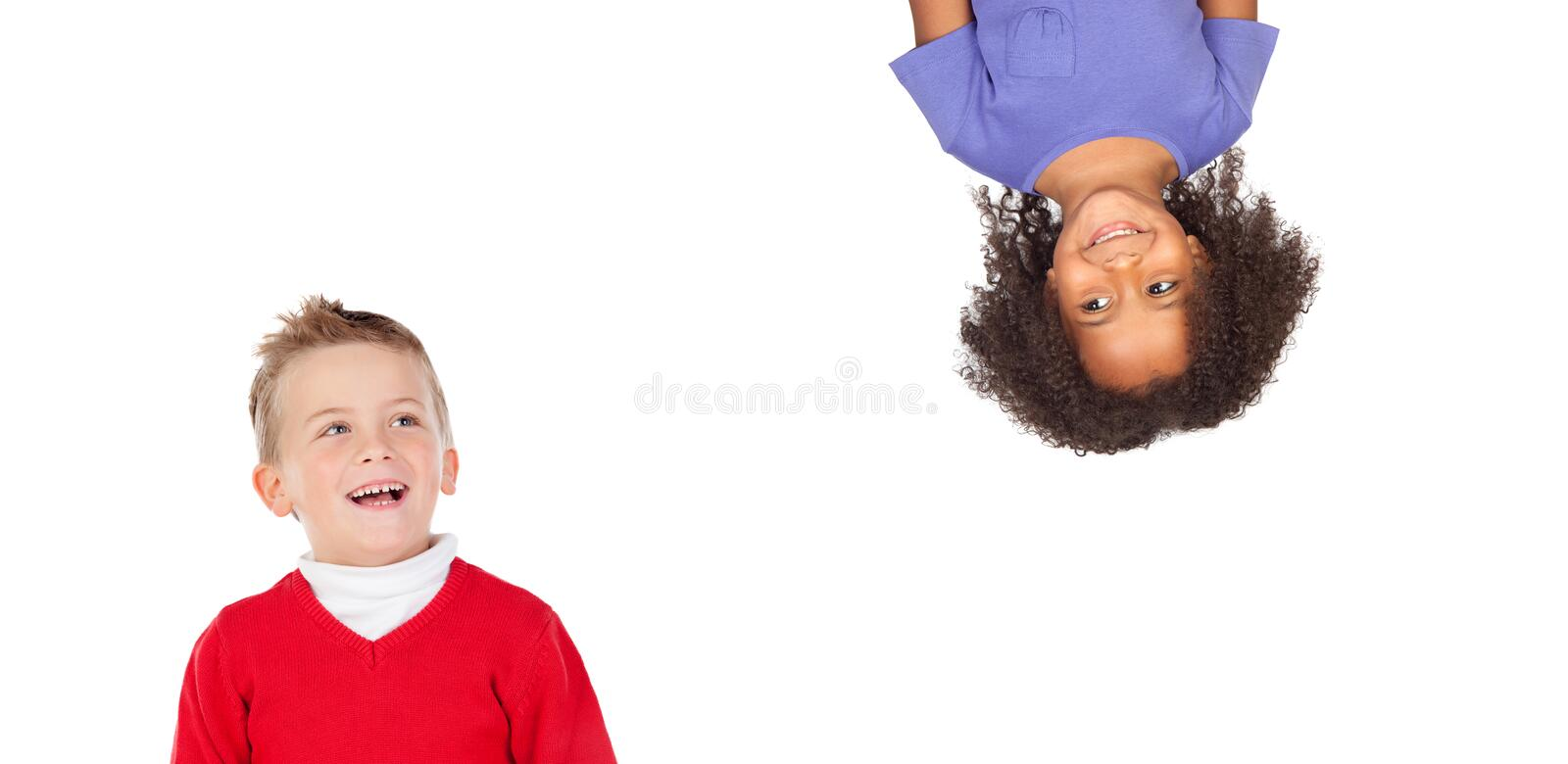 Two children laughing royalty free stock image