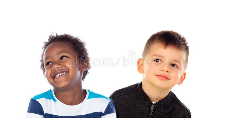 Two children looking up royalty free stock photography