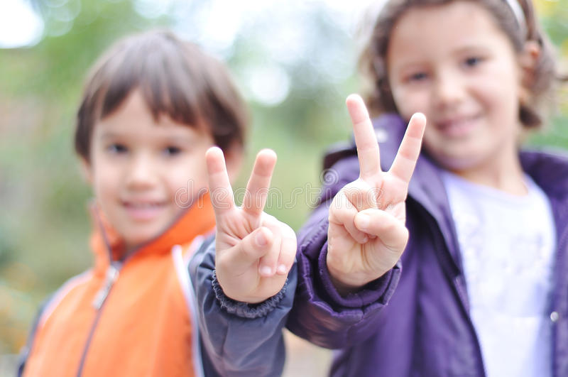 Two children, male and female royalty free stock photo