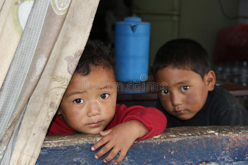 Two children from Nepal stock photos