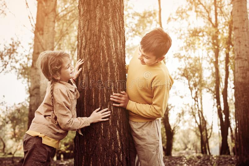 Two children in the park. royalty free stock image