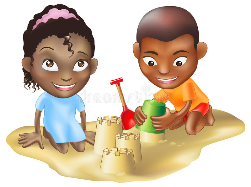 Download Two Children Playing On The Beach Stock Vector - Image: 15227764