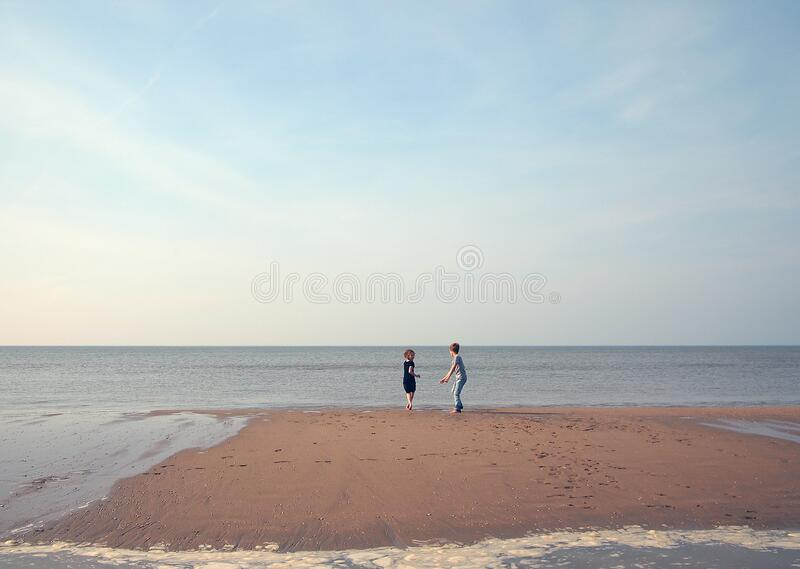 Two Children Playing On A Beach Free Public Domain Cc0 Image