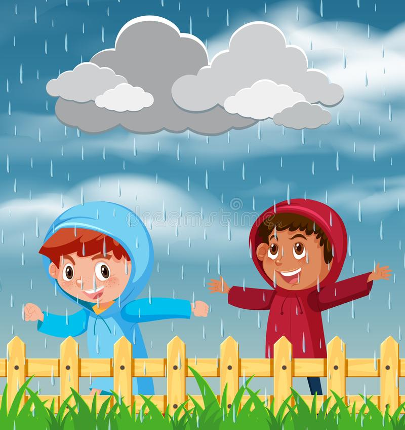 Two children playing in the rain royalty free illustration