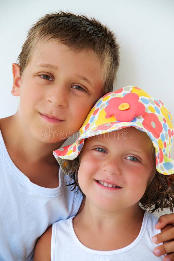 Download Two Children Posing For A Portrait Stock Image - Image: 26098641