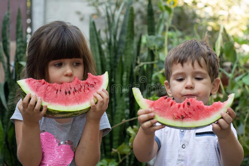 Two children summer portrait. Smiling children outdoor. Happy smiling child eating watermelon in park. stock photos