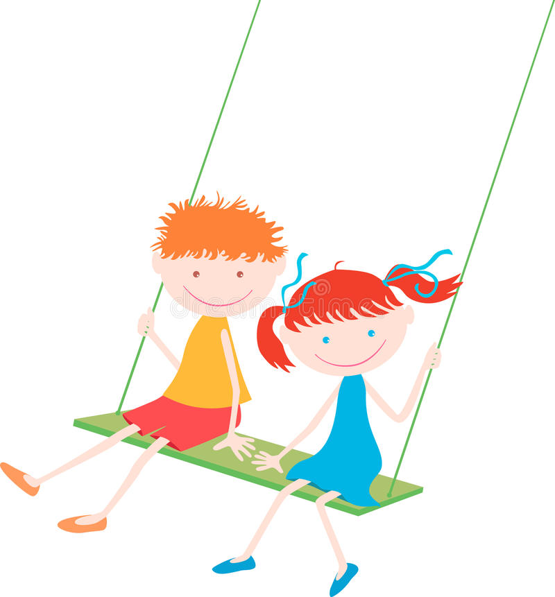 Two children on a swing stock illustration