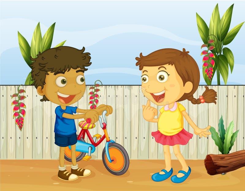 Two children talking stock illustration