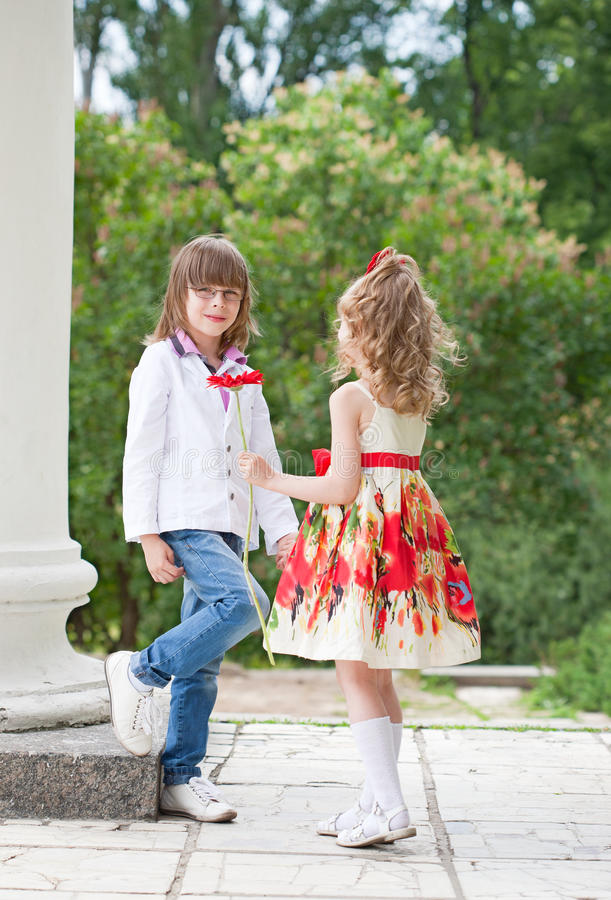 Two children on walk royalty free stock photos