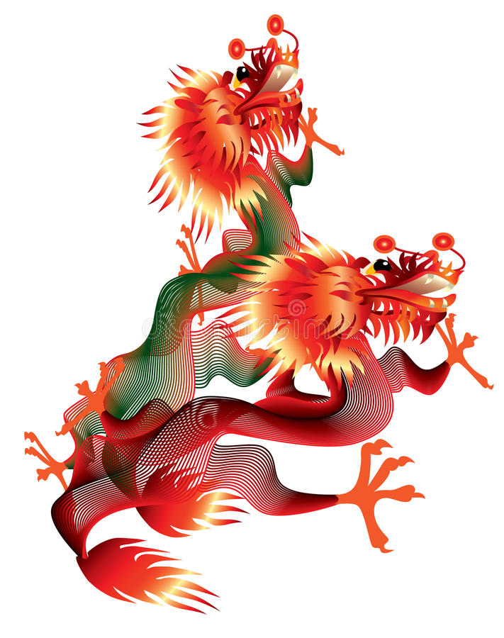 Download Two Chinese Dragons On White Background Stock Vector - Image: 16950174