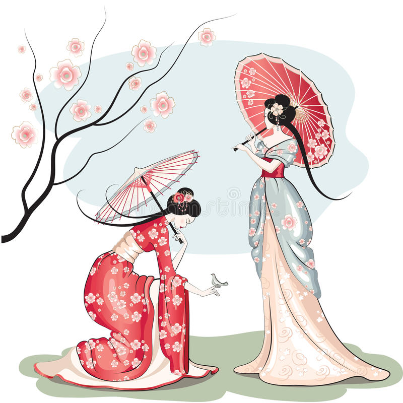 Two chinese women with parasols. Detailed vector illustration of two chinese women in traditional clothing with parasols vector illustration