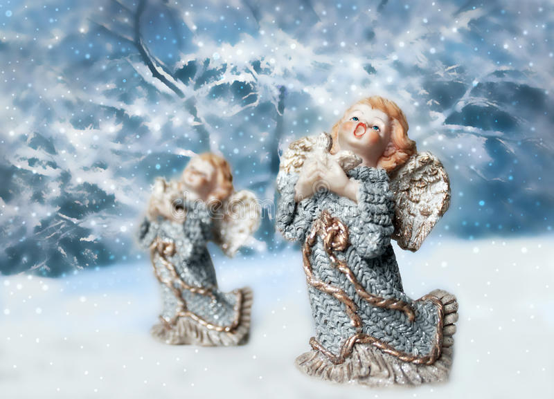 Download Two Christmas angels stock image. Image of sing, glittering - 21224567
