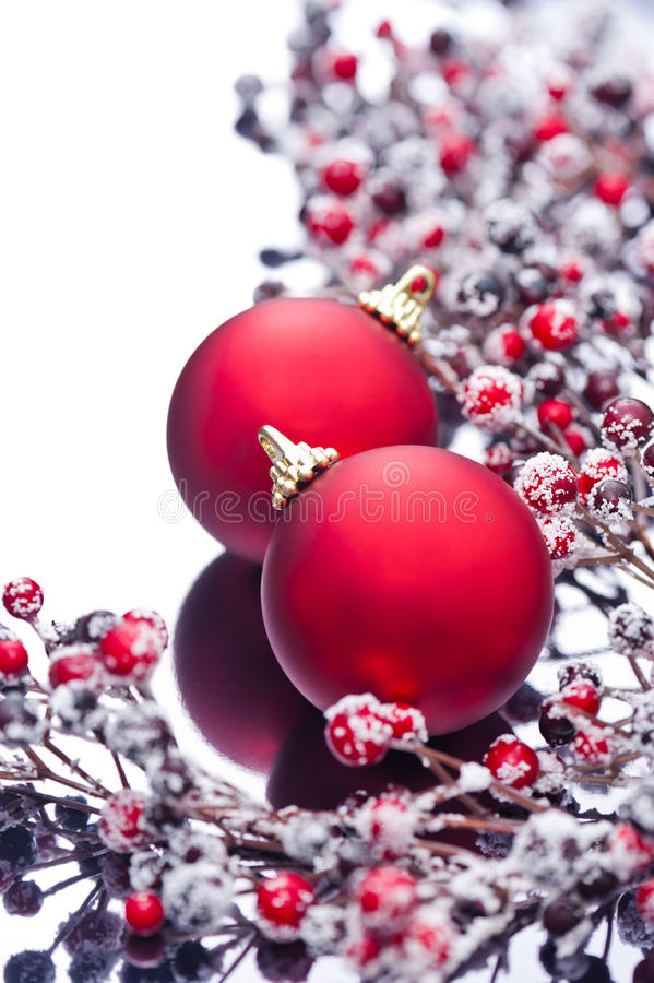 Download Two Christmas Baubles And Holly Berries Stock Image - Image: 25383719