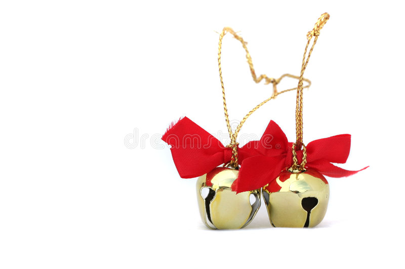 Two Christmas Bells Isolated royalty free stock photography