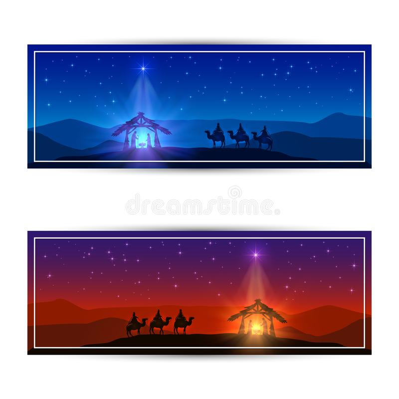Two Christmas cards with star and birth of Jesus stock illustration