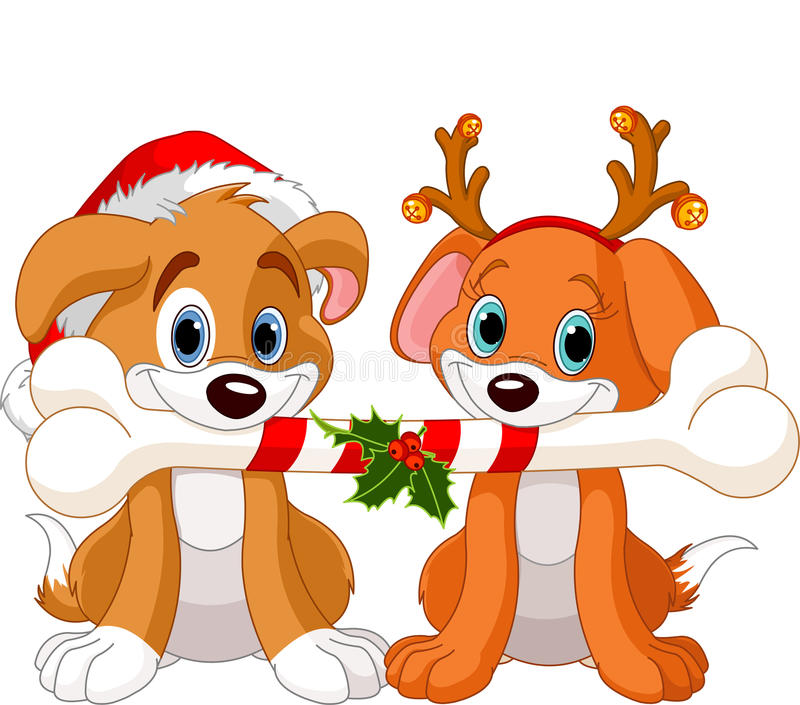 Two Christmas dogs royalty free illustration