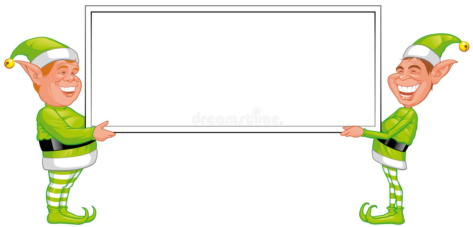 Download Two Christmas Elfs Holding A Blank Sign Stock Illustration - Illustration: 11419831