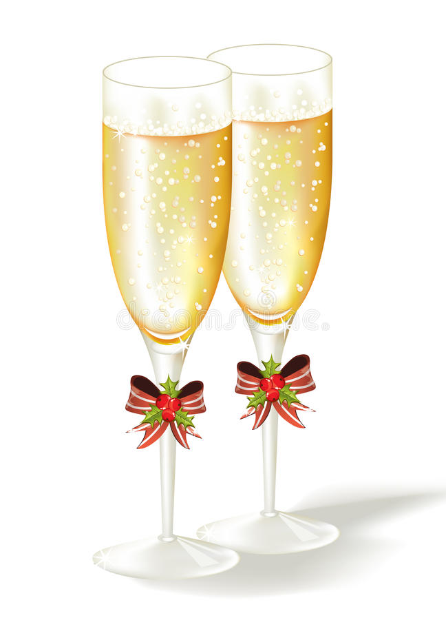 Free Two Christmas Glasses Of Champagne. Royalty Free Stock Image - 17384816