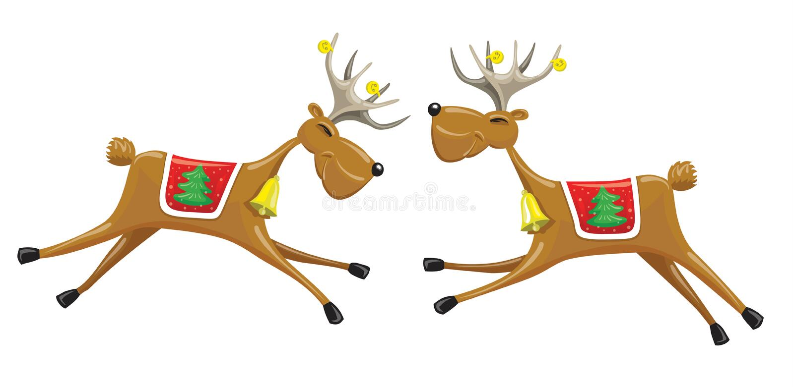 Two Christmas reindeers royalty free illustration
