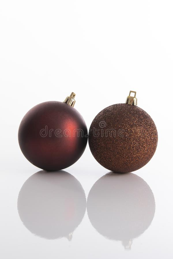 Two Christmas tree ornaments for Christmas decoration and celebration royalty free stock images