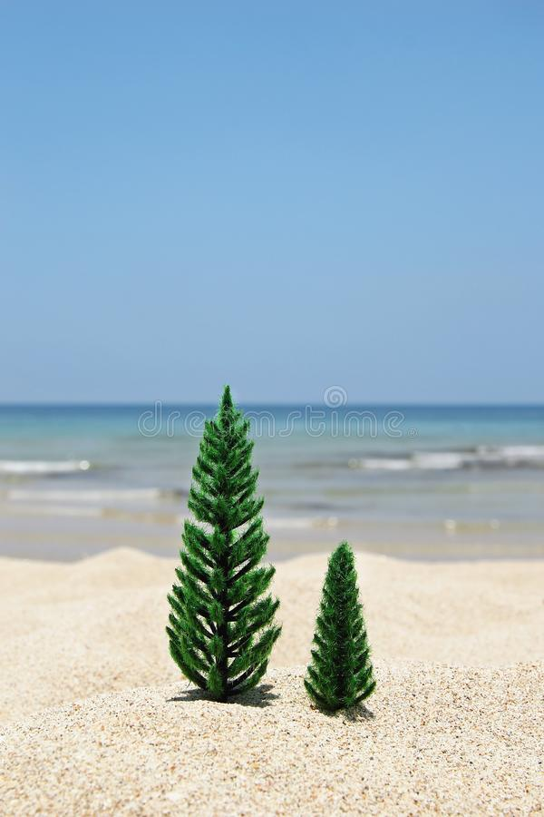 Two Christmas trees on a sandy beach on the background of blue sea and sky on a sunny day. stock photography