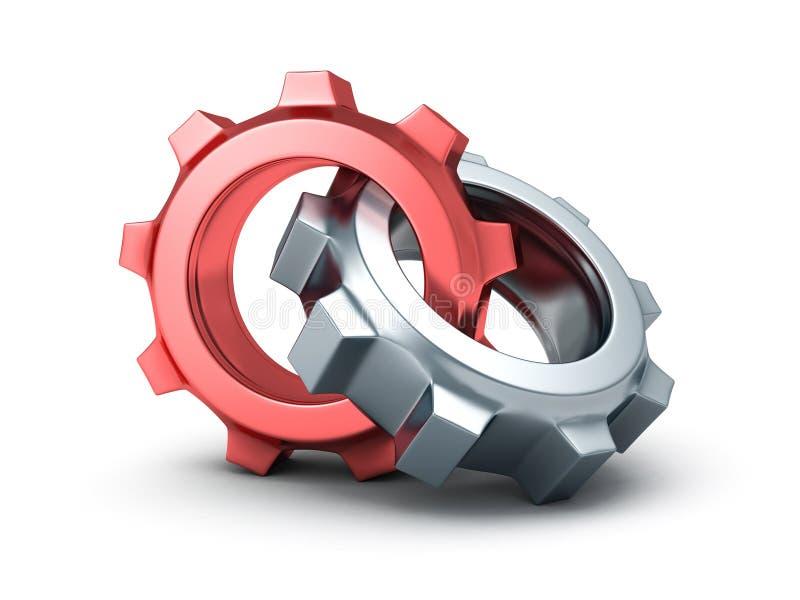 Two chrome cogwheel gears on white background stock illustration
