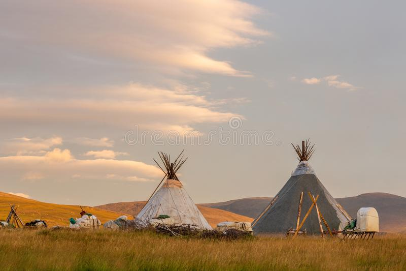 Two chums in tundra in the summer sunrise. Two chums in the tundra in the summer sunrise, Yamal, Russia stock photo