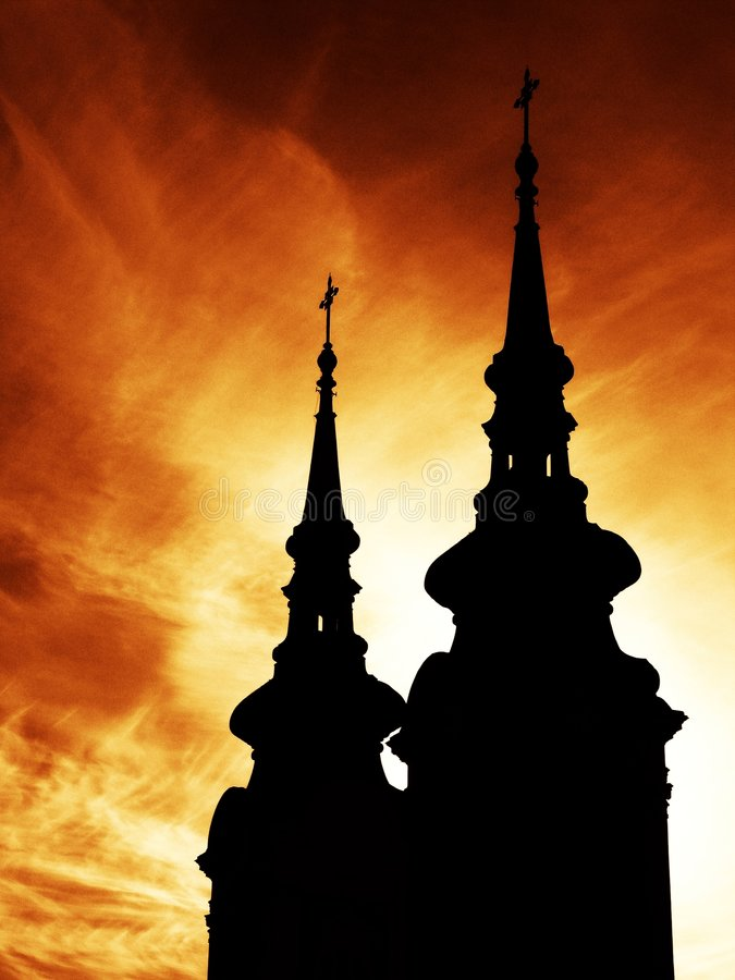 Free Two Church Towers With Crosses Royalty Free Stock Photography - 671807