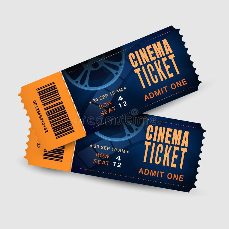 Two cinema tickets isolated on white background. Pair movie entrance ticket. Realistic template set for Cinema, Theatre. Concert, Party, Event or Festival vector illustration