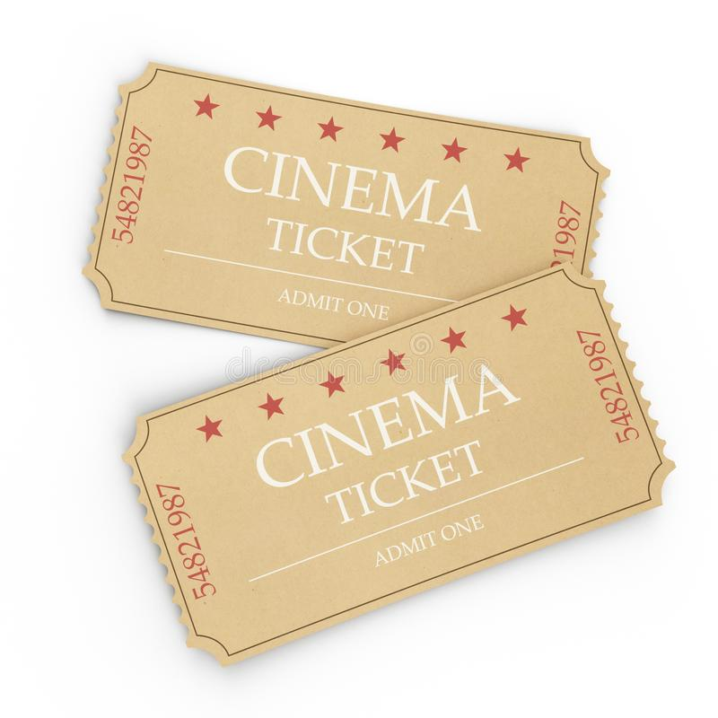 Two cinema tickets isolated on white background, top view, close-up. 3d illustration. Two cinema tickets isolated on white background, top view, close-up, 3d stock illustration