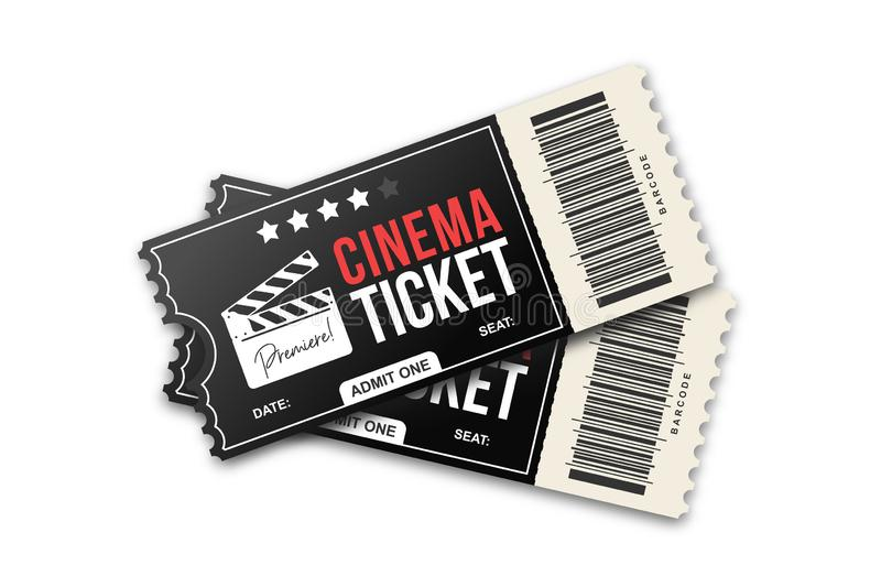 Two cinema tickets on white background. Movie tickets template, black and red colors royalty free illustration
