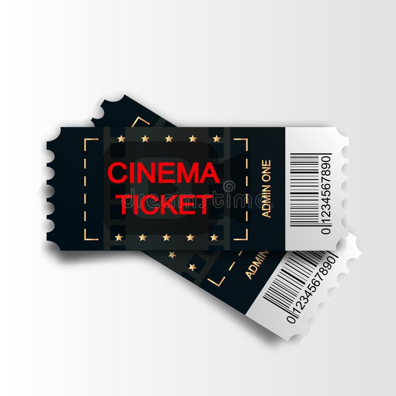 Two cinema vector tickets isolated on white background. Realistic front view illustration. Close up top view on two. Designed movie tickets vector illustration