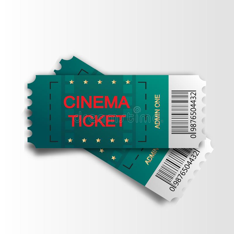 Two cinema vector tickets isolated on white background. Realistic front view illustration. Close up top view on two. Designed movie tickets stock illustration