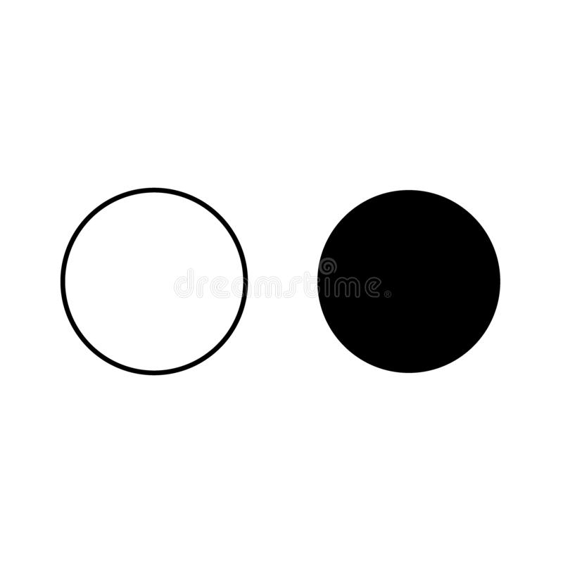 A two circle, black and white icon. Vector geometry rounded corner polygon stock illustration