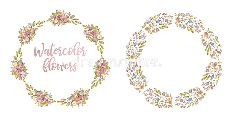 Two circle watercolor flower frames, card cover. Two circle watercolor flower frames, branches isolated on white background. Aquarelle floral framework set, hand stock photo