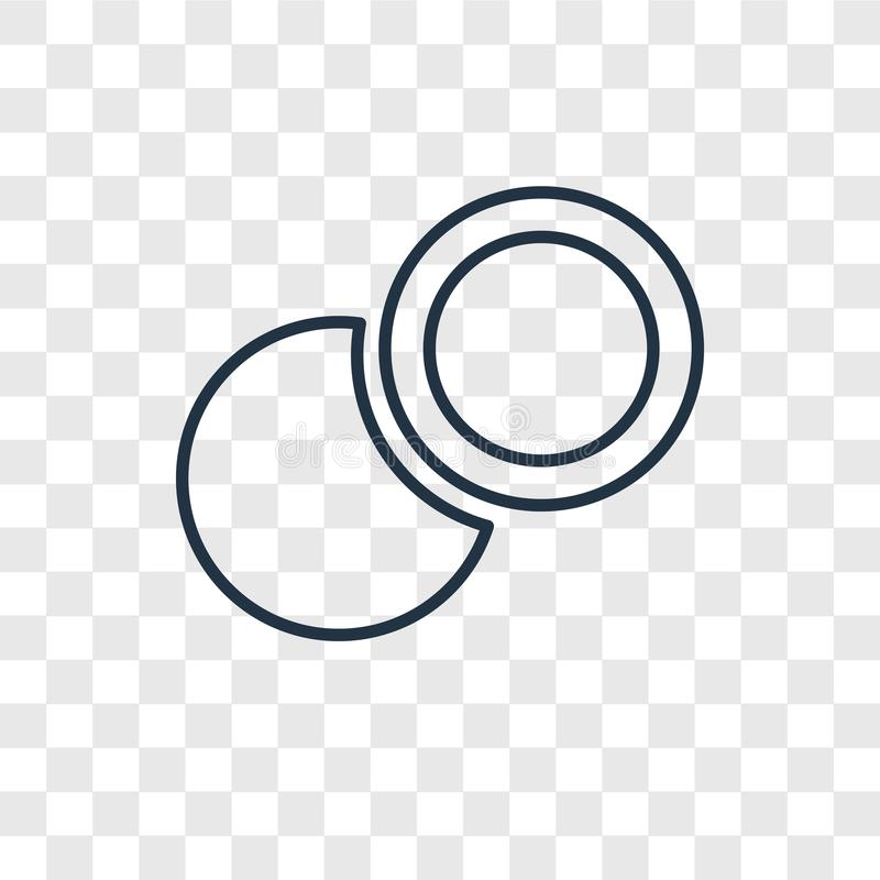 Two Circles concept vector linear icon isolated on transparent b vector illustration