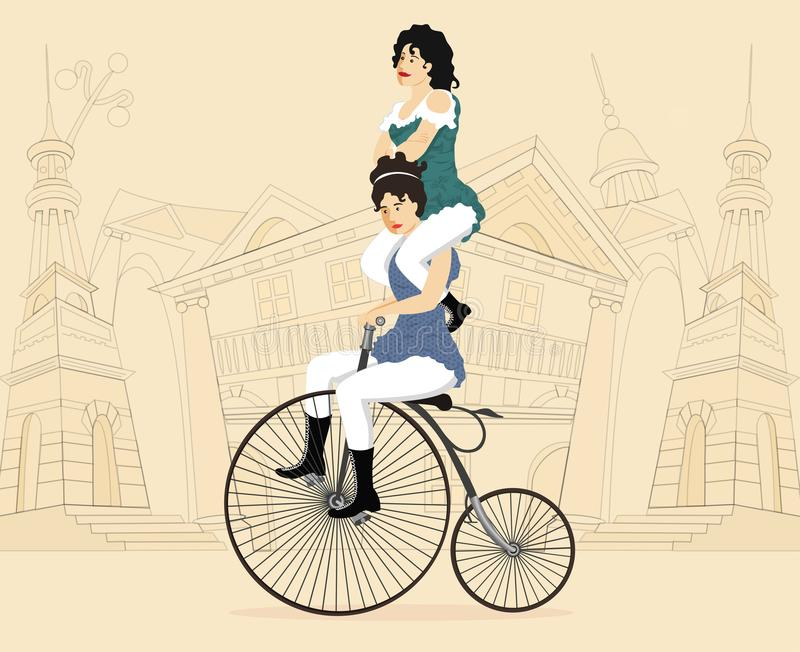 Two circus performers women on a retro bicycle on cityscape background vector stock image
