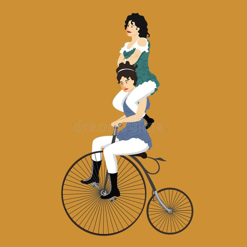Two circus women on a retro bicycle in vintage costume vecto royalty free stock photos