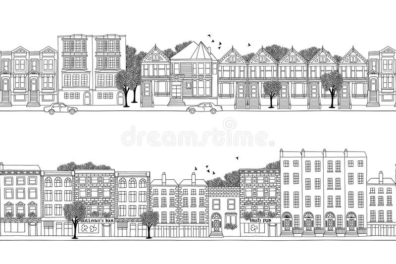 Two city banners with Victorian style houses royalty free illustration