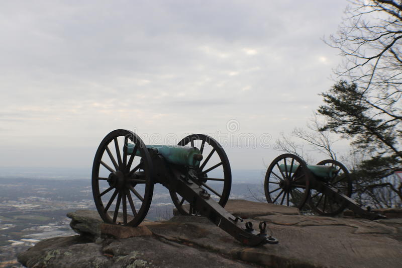 Two Civil War era Cannons. Two cannons sit cliff side at Point Park, Lookout Mountain, TN Chickamauga & Chattanooga National Military Park stock images