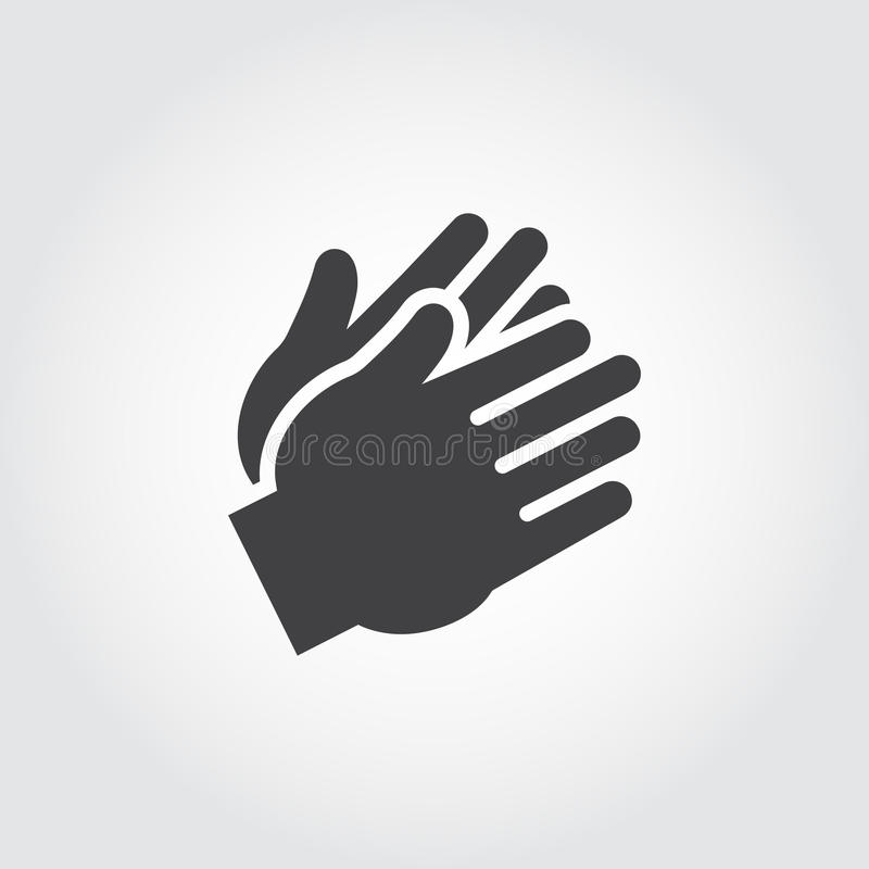 Two clapping human hands black icon. Flat sign of applause, encouragement, approval. Web graphic pictograph royalty free illustration