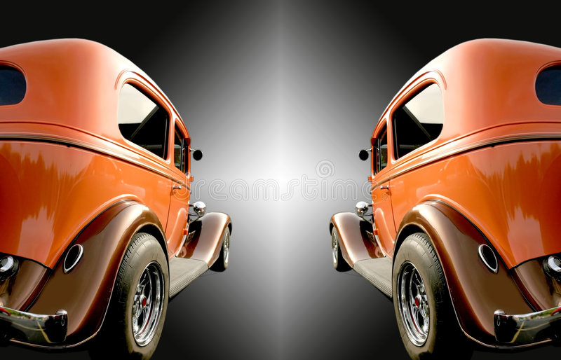 Two Classic Cars stock images