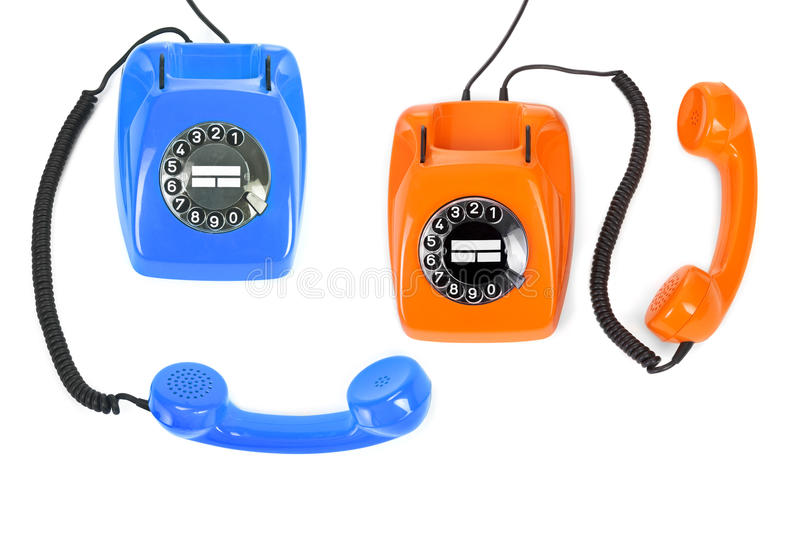 Download Two classic dial phones stock image. Image of cable, orange - 29361135